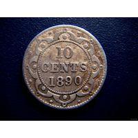 Ньюфаундленд. 10 центов / Виктория. 1890! Редкая!