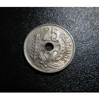 ИСПАНИЯ 25 центаво 1934: республика