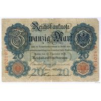 Германия 20 марок 1909 г. Редкий год.
