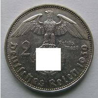 1939 г. 2 марки. D. Германия. Рейх. Серебро.