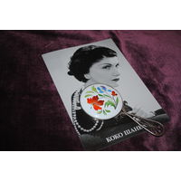 Дамское карманное Зеркало/Зеркальце: фарфор-фаянс-ручная роспись-финифть, - размер 9,5см.