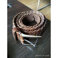 Плетёный из натуральной кожи ремень коричневого цвета Испания длина 159 см.