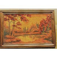 Картина из натурального янтаря 45 х 67 см в деревянной раме