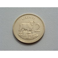 "Лесото. 2 лисенте 1992 года  КМ#55а  ""Бык"" Животные"" Фауна"""