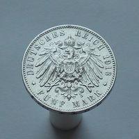 Германия 5 марка 1913 F В Королевство Вюртемберг серебро
