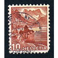 45: Швейцария, почтовая марка, 1936 год, номинал 10с, SG#372A
