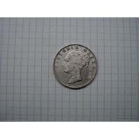 Британская Индия (Ост-Индская компания) 1 рупия 1840 (легенда над головой), серебро