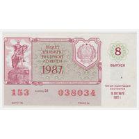Лотерейный билет РСФСР 1987 год, 8 выпуск