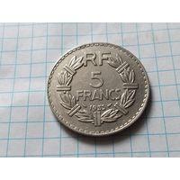 Франция 5 франков, 1933  Женское лицо обращено влево