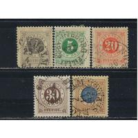 Швеция 1886 Номиналы Надп Стандарт #31-2,34-5,37