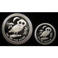 Афинская сова, NIUE, 2 доллара+1 доллар (2 инвестиционные монеты)