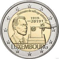2 евро 2019 Люксембург 100-летие всеобщего права голоса UNC из ролла