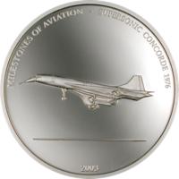 """Либерия 10 долларов 2003г. """"Сверхзвуковой Конкорд 1976"""". Монета в капсуле; сертификат. СЕРЕБРО 25гр."""