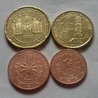 Набор евро монет Австрия 2017 г. (1, 2, 10, 20 евроцентов)