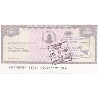 Zimbabwe Зимбабве - 1000 Dollars cheque 2004 UNC