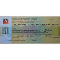 Австралия. The Commercial Bank of Australia Ltd. Дорожный чек на сумму 20 фунтов. Образец aUNC