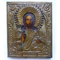 Икона Господь Вседержитель в латунном окладе.19 Век.
