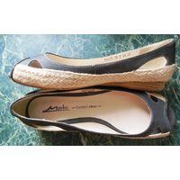 Туфельки из натуральной кожи, 38 размер, по стельке 25 см.