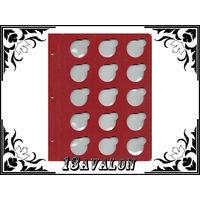 Лист Красный, для монет в капсулах D= 33мм, Коллекционер КоллекционерЪ в альбом для капсул
