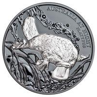"""Ниуэ 1 долларов 2018г. """"Утконос ночью"""". Монета в капсуле; подарочном футляре; номерной сертификат; коробка. СЕРЕБРО 31,135гр.(1 oz)."""