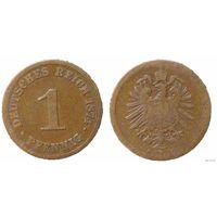 YS: Германия, Рейх, 1 пфенниг 1874B, KM# 1