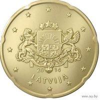 20 евроцентов 2014 Латвия UNC из ролла