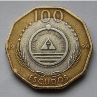 Кабо-Верде, 100 эскудо 1994 г.(Растения-aeonium gorgoneum)-юбилейная.
