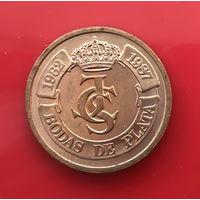 Ж 01-08 Испания. Серебряная свадьба Короля Испании Д. Хуана Карлоса и Софии 1987 г. Единственное предложение жетона данного типа на АУ
