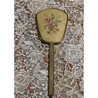 Зеркало ручное Вышивка Латунь Англия до 50-х