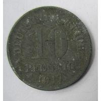 Германия. 10 пфеннигов 1917.  Не магнит. Цинк 2-83