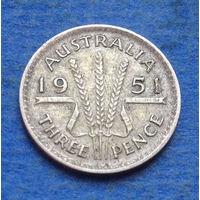 Австралия 3 пенса 1951 Георг VI серебро