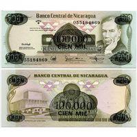 Никарагуа. 100 000 на 500 кордоба (образца 1987 года, P149, UNC)
