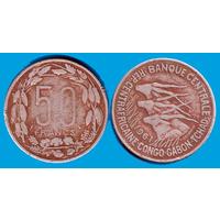 Центрально-африканская республика, Конго, Габон, Чад 50 франков 1961