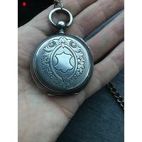 Карманные часы C.Fleury! На ходу в комплекте с цепочкой и ключом! Серебро!