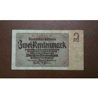 Редкая! / Германия / 2 rentenmark / 1937 год / Ro-167 (a) / 7 цифр в номере