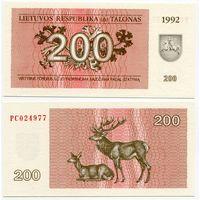 Литва. 200 талонов (образца 1992 года, P43, UNC) [серия PC]