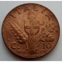 """Италия 10 чентезимо 1938 """"Колос пшеницы и герб"""""""
