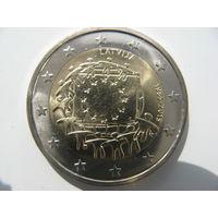 Латвия 2 евро 2015 г. 30 лет флагу Европейского союза. (юбилейная) UNC!