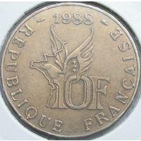 Франция 10 франк 1988 Гаррос в холдере