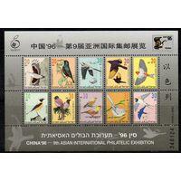 Фауна Птицы Израиль 1996 год 1 номерной малый лист из 10 чистых марок (М)