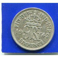 Великобритания 6 пенсов 1942 , серебро
