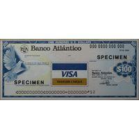 Испания дорожный чек Banco alantico на 100 долларов. Образец UNC