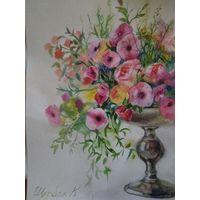 Картина акварель цветы