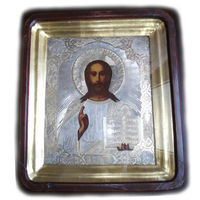 Икона Иисус Христос в старинном окладе и своём киоте