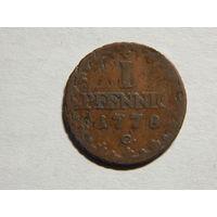 Саксония 1 пфенниг 1778г