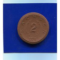 Германия , Саксония 2 марки 1921 , Мейсенский Фарфор