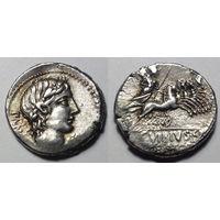Римская Республика, монетарий В. Панза, 90 год, денарий, время Марсийской войны.