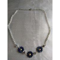 """Колье  винтажное"""" Синие полевые цветы"""" Эмаль кобальтовая.Крупные стразы.44 см"""