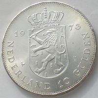 Нидерланды, 10 гульденов 1973 года, Juliana Regina 1948-1973, Ag 720/ 25 грамм, KM#196