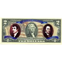 США бона ЦВЕТНЫЕ $ 2 доллара экспедиция UNC ПОДАРОЧНАЯ